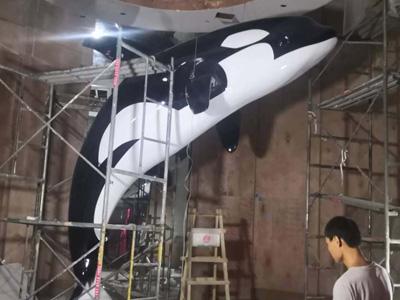 山东临沂球彩直播下载地址球彩台大头公司2020年3月玻璃钢球彩台大头作品 展厅海豚