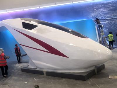 山东临沂球彩直播下载地址球彩台大头公司2020年4月玻璃钢球彩台大头作品 展厅高铁
